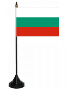 Bulgaria Desk / Table Flag with plastic stand and base.